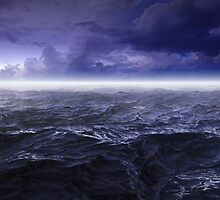 Dark stormy sea waters at night by zalkgraph