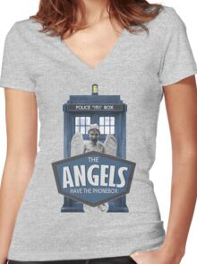 Inspired by The Doctor - Weeping Angels - The Angels Have the Phonebox - Don't Blink Women's Fitted V-Neck T-Shirt