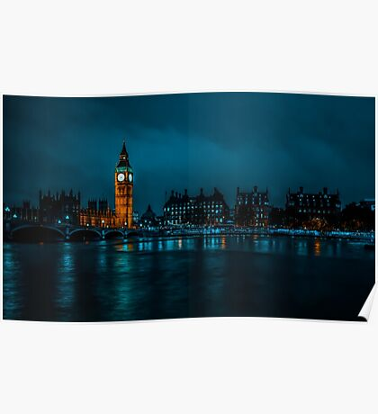 London - Big Ben across the river Poster