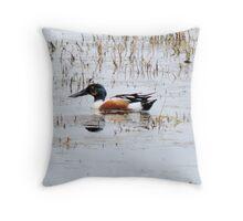 Shovel Billed Duck Throw Pillow