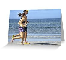Joggers on the Beach Greeting Card