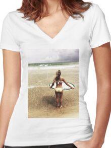 Surfer Girl Women's Fitted V-Neck T-Shirt