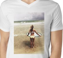 Surfer Girl Mens V-Neck T-Shirt