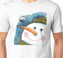 Snowman in green Unisex T-Shirt