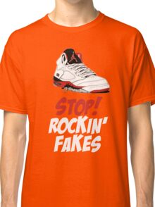 STOP! ROCKIN' FAKES (Red & White) Classic T-Shirt