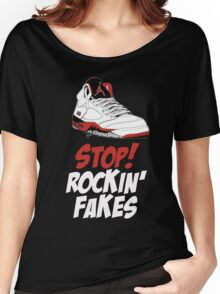STOP! ROCKIN' FAKES (Red & White) Women's Relaxed Fit T-Shirt