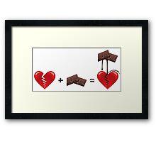 Broken Heart + Chocolate = Healed Framed Print
