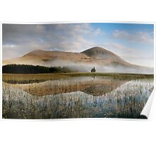 Misty Mountain Behind Reflective Lake Poster