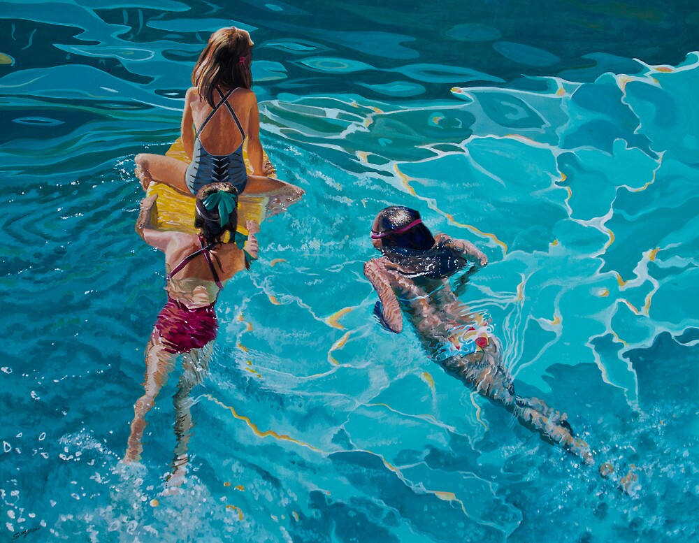 Playing in the pool by Freda Surgenor