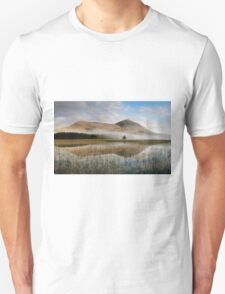 Misty Mountain Behind Reflective Lake Unisex T-Shirt