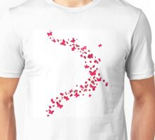Red Rose Petals and Butterflies Unisex T-Shirt