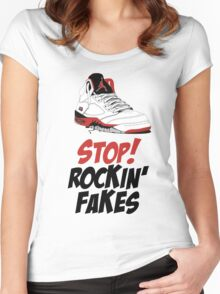 STOP! ROCKIN' FAKES (Red & Black) Women's Fitted Scoop T-Shirt