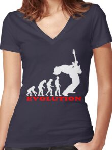 bass player, bass evolution Women's Fitted V-Neck T-Shirt