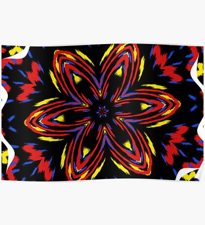 Fire Flower Fractal Poster