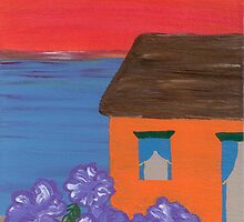 Beach House with Sunset by Melissa Vijay Bharwani