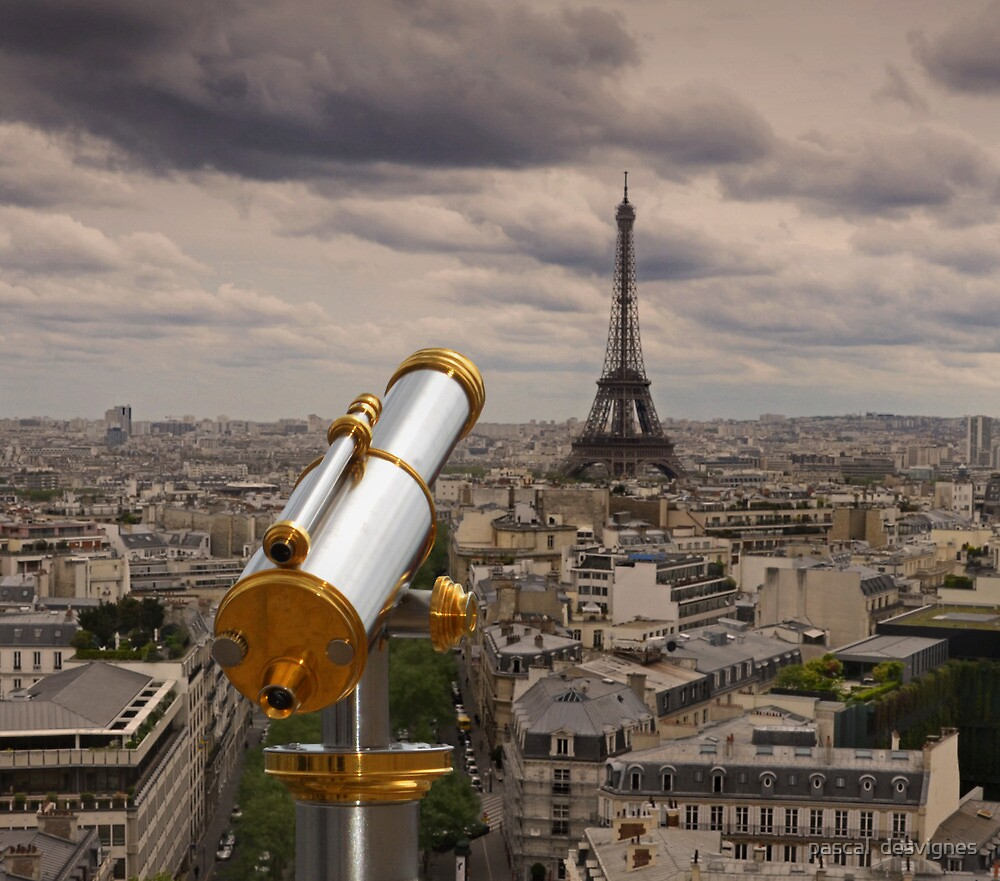 a focused glimpse on the Eiffel tower by pascal  desvignes