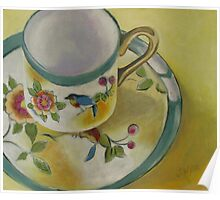 Little Cup with Bird Motif Poster
