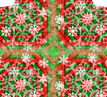 Red, Green, and White Snowflake  Sticker
