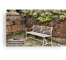 "Garden Seat Bible verse ""Rest a While"" Canvas Print"