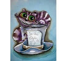 Cheshire Cat on a top hat Photographic Print