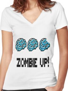 Zombie Up! Women's Fitted V-Neck T-Shirt
