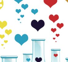 Chemistry Flask, Hearts - Red Blue Yellow Purple Sticker