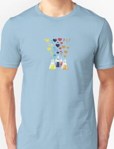 Chemistry Flask, Hearts - Red Blue Yellow Purple Unisex T-Shirt