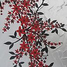 red, black, silver, grey, gray artistic flowers by cathyjacobs