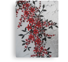 red, black, silver, grey, gray artistic flowers Canvas Print