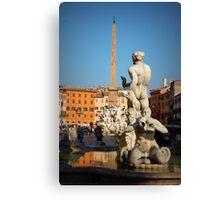 Fontana del Moro, Piazza Navona, Roma, Italia Canvas Print