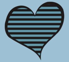 Stripes (Parallel Lines), Heart - Blue Black Baby Tee