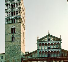 Campanile beside Duomo Pistoia 198403140002  by Fred Mitchell