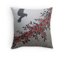 picture of a bird with red grey gray silver black blossom and leaves Throw Pillow