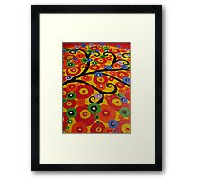 Red yellow green orange blue and black circle tree Framed Print