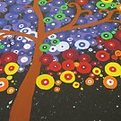 colorful tree with black midnight background by cathyjacobs