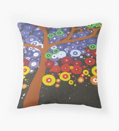 colorful tree with black midnight background Throw Pillow