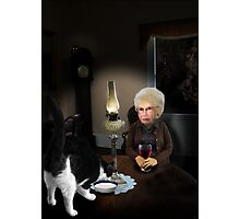 granny by lamplight Photographic Print