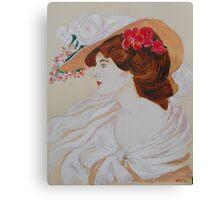 Belle Femme au Chapeau Fleuri Canvas Print
