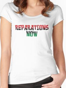 REPARATIONS NOW PRINTS, CARDS & POSTERS. Women's Fitted Scoop T-Shirt