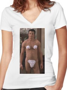 chris evans Women's Fitted V-Neck T-Shirt