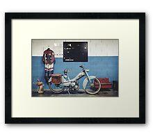 Mobylette Bleue Framed Print