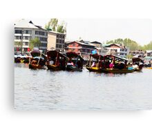 Relaxing in Shikaras in the Dal Lake  Canvas Print