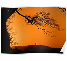 Scrabo Tower, County Down, at sunset Poster