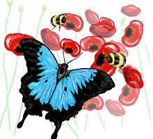 Blue Black Butterfly Art by LeahG by Cartoonistlg