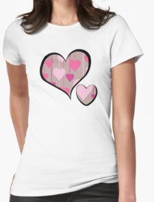 Hanging Hearts - Brown Pink Womens Fitted T-Shirt