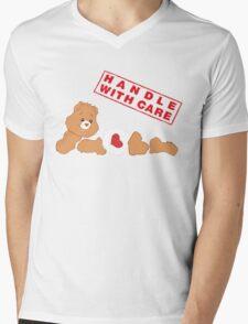Handle With Carebear Mens V-Neck T-Shirt