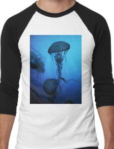 Portrait of a Jellyfish- Blue Men's Baseball ¾ T-Shirt