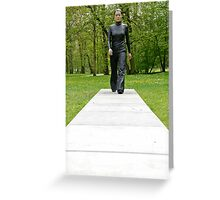 A walk in the park (Walking Woman by Sean Henry) Greeting Card