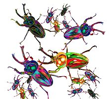 Cool Rainbow Stag Beetle Art by LeahG by LeahG Artist