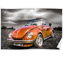 Classic orange VW Beetle Poster